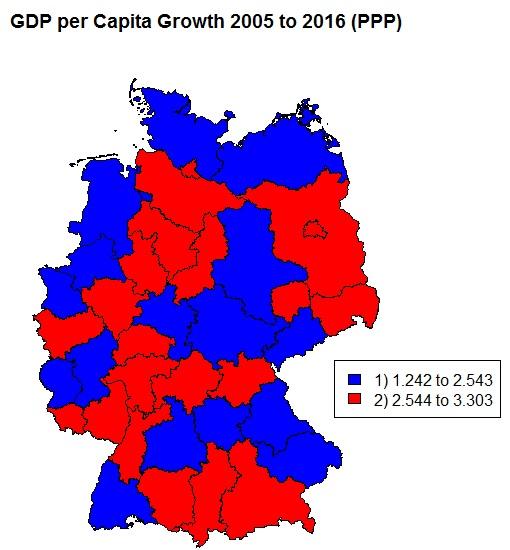 BIP-Wachstumsrate Deutschland nach Regionen